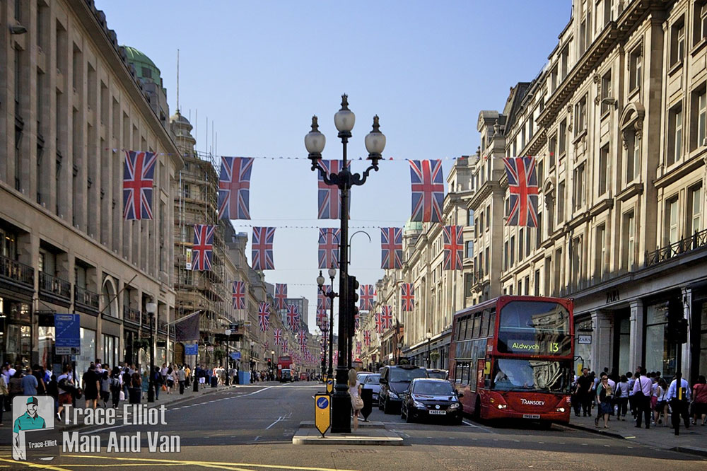 London street with flags